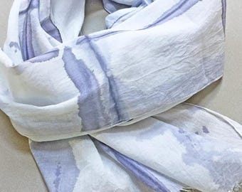 Purple Shibori Scarf, Shibori Scarf, Purple Cotton Scarf, Watercolor Scarf, Hand Painted Scarf, Hand Dyed Scarf, Lavender Scarf, All Cotton