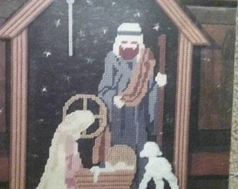 Holy Night, Plastic Canvas, Leisure Arts, Pattern Leaflet, #1319, Nativity, Christmas, A Child is Born, Vintage 1991