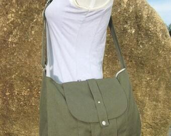 Fathers Day Sale 20% off Olive green cotton canvas messenger bag / shoulder bag / everyday bag / diaper bag / cross body bag - 6 pockets