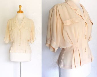FREE SHIPPING//Dauphine Blouse//1930s inspired champagne short Sleeve Top