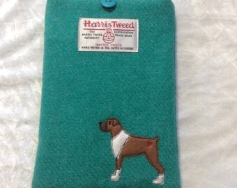 "Boxer dog e-reader case, kindle paperwhite 6"", kindle voyage, kobo touch, kobo glo case, sleeve, jade Harris Tweed fabric, embroidered boxer"