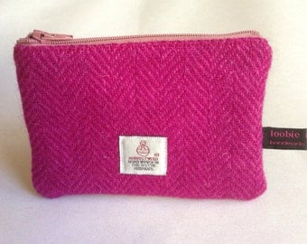 Harris Tweed pink herringbone coin purse, zipped coin pouch, change purse, scottish gift, mothers day