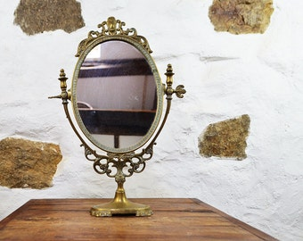French swivel vanity mirror Wooden oval mirror Table mirror brass