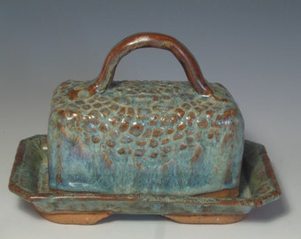 HANDBUILT BUTTER HOUSE textured stoneware clay in blues/yellows