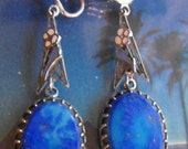 Sterling Nouveau Enamel Lapis blue dangle earrings Deco drop earrings