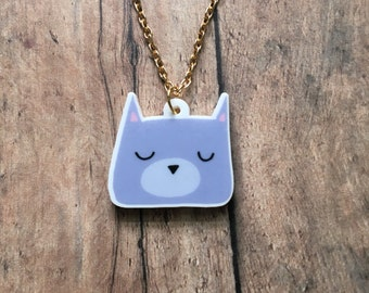 Gray kitty necklace
