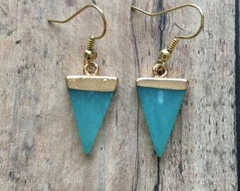 Gorgeous aqua triangle earrings