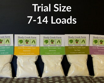 Goat Milk Laundry Soap Trial Size 7-14 loads Laundry Detergent Laundry Powder, Biodegradable, Eco-Friendly, Natural Detergent,