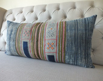 Bolster Cushions, 16x32, Pillow case, Vintage Hmong Batik Cotton cushion cover, Handprinted Fabric,Scatter cushions,