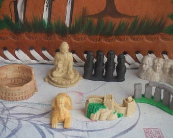 7 Landmarks of the World. Cake Toppers. Group of 7 Figures Made by Safary Ltd.