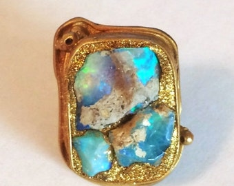 ON SALE Fiery raw opal ring