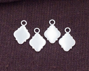 4 of 925 Sterling Silver Moroccan Style Drop Charms 8x11 mm. Polish Finished :tk0120