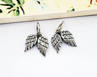 2 of  925 Sterling Silver Oxidized Angel Wing Charms 9x10mm. :th2601