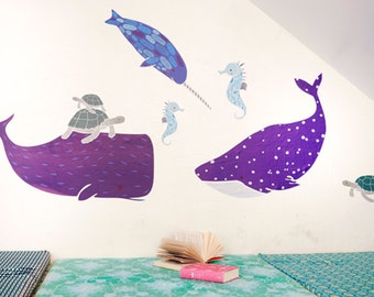 GINGIBER SEA CREATURES Eco-Friendly Reusable Fabric Wall Decals by Pop & Lolli