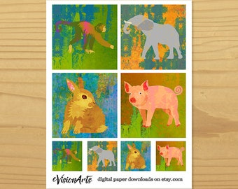 Animal Coasters, Wildlife Art for Crafting and Scrapbooking, Animal Art for Decoupage, Animal Mini Cards, Digital Download
