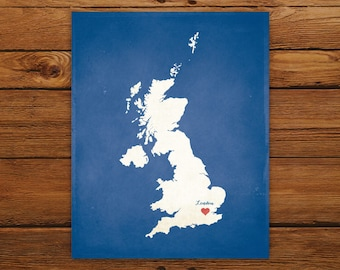 Customized United Kingdom 8 x 10 Country Art Print, Country Map, Heart, Silhouette, Aged-Look Print
