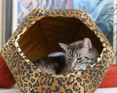Cat Ball cave style kitty bed in leopard print cotton fabric - modern style pet furniture - a house for cats - fabric cat pod