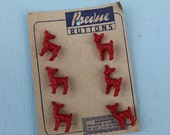 Vintage Red Deer Buttons on Original Card, 6 buttons