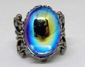 Blue Jewel Ring, Vintage Blue Glass Ring, Mirror Blue Ring, Vintage Stone, Vintage Blue Jewel Adjustable Ring