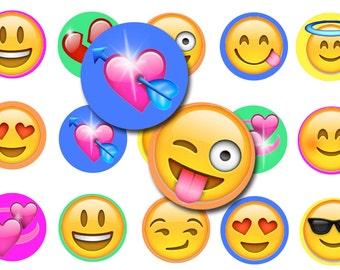 Emoji  Bottle Cap Images- Digital Collage Sheet- 1 Inch Circles-Bottlecap collage sheet- Pendants- Hair Bows-Cupcake toppers
