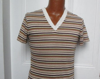 60's/70's  Vintage Striped T Shirt V Neck original