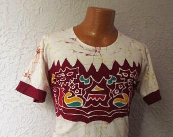 60s Vintage Men's Bali Batik Hand Dye Jersey  T Shirt rare med.