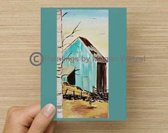 Blue Barn Vertical 5x7 Folded Blank Cards
