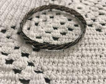 Vintage Sterling Silver Braided Bangle Bracelet