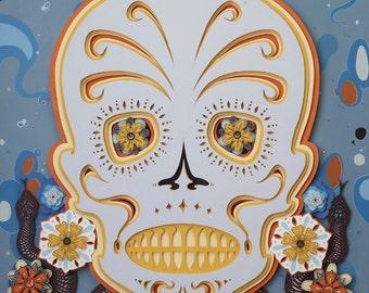 Sugar Skull #15, paper cut art, paper cut artist, pop surrealism, day of the dead, skull, lowbrow art, new contemporary, paper art, colorful