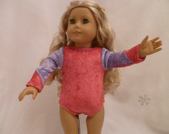 18 Inch Doll Pink and Purple Gymnastics Leotard with Purple Hearts for American Girl Dolls