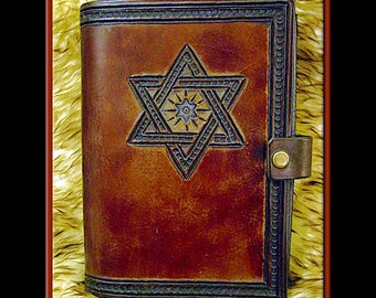 STAR OF DAVID Journal • A Beautifully Hand Crafted Medium Sized Leather Judaica Journal. A diary, for recipes, addresses, all sorts of info.
