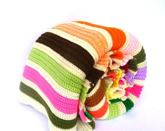 Vintage NEON Striped KNIT COVERLET/ Queen Size