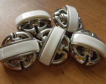 """8 Silver with White Bar Large Shank Buttons Size 15/16"""""""