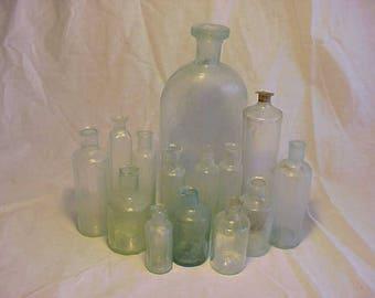 c1830-1850s Group of 14 Cork Top Free Blown Aqua Glass Open Pontil Medicine Bottles, Rare Find Open Pontil Utility Bottles