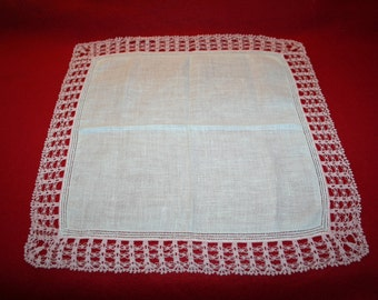 Vintage Ladies Handkerchief- Drawn Thread- Crocheted Edging