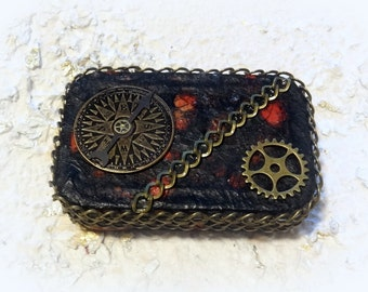 Steam Punk, Steampunk, Credit Card Case, Stash Box, Altered Altoid Tin, Change Purse, Keepsake Box, Wallet, Stocking Stuffer, Make Up Case