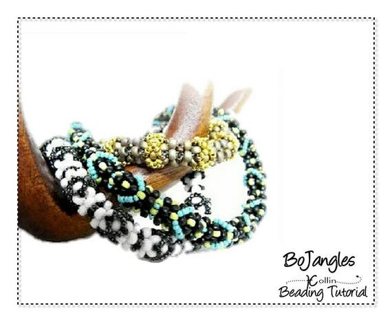 Beading Pattern, Soft Skinny, Cubic Right Angle Weave Beaded Bangles, Beading Instructions, DIY Beaded Jewelry Tutorial,  BOJANGLES