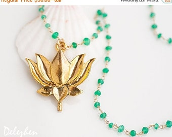 40 OFF - Lotus Flower Necklace - Green Onyx Necklace - Yoga Necklace - Statement Necklace -  Wire wrapped