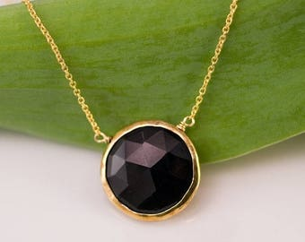 40 OFF - Black Onyx Necklace - 14k Gold Filled Chain - Round Gold Framed Black Stone Necklace - Gemstone necklace - Gold necklace - Layering
