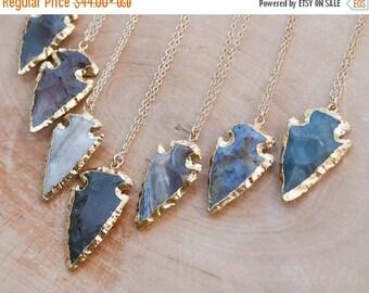 40 OFF - Arrowhead Necklace - Agate Arrowhead Necklace - Layering Necklace - Bohemian Necklace - Boho Hippie Chic Necklace - Rough Stone Nec