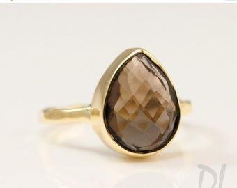 40 OFF - Smokey Quartz Ring Gold - Tear Drop Ring - Brown Stone Ring - Solitaire Ring - Stacking Ring - Gold Ring - Square Gem Ring - Stack