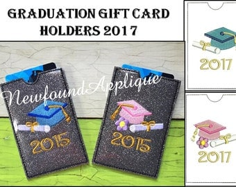 In The Hoop Graduation 2017 Gift Card Holder Embroidery Machine Design Set