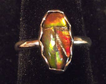 AMMOLITE RING size 8 up to size 9 sterling silver