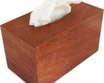 Tissue box cover rectangular size fits Kleenex and Puffs boxes in natural mahogany wood veneers regular size.