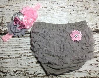 Gray Pink Baby Bloomers - Flower Headband - Chiffon Ruffle Diaper Cover - 1st Birthday Bloomers