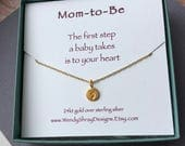 Mom to be necklace, new mom, baby foot print, gold vermeil baby shower gift, pregnancy, maternity jewelry, cable, box, or rope chain N226G