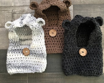 Chunky Bear Hooded Cowl // Baby, Toddler and Child Sizes
