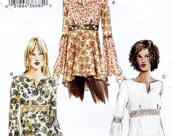Sz 12/14/16 - Vogue Top Pattern 7743 - Misses' Fit and Flare Bell Sleeve Tunic Top - Vogue Patterns