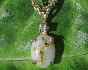 14k Gold Nugget Diamond Pendant, 14k Gold Veined Quartz Pendant, Ready To Ship Gift, Gold Nugget Jewelry, Gold in Quartz Pendant,
