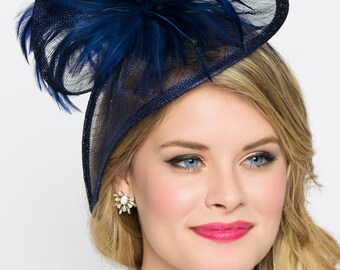 "Navy Blue Twist Mesh Fascinator - ""Victoria"" Navy Blue Mesh Fascinator Hat Headband with Flighty Feathers"